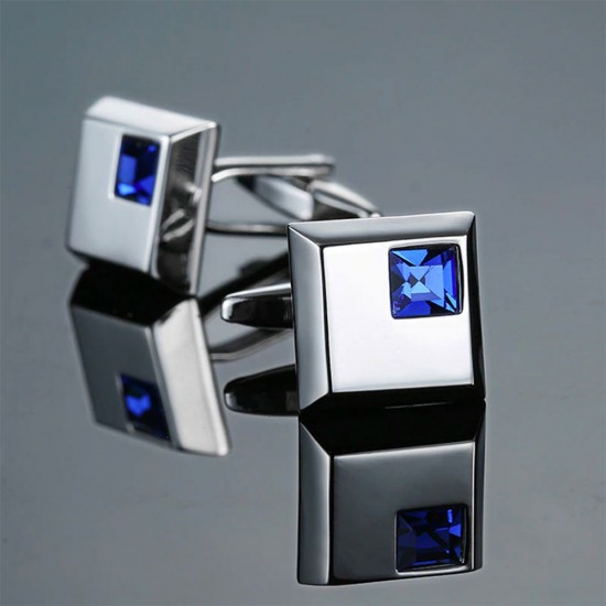 Квадратни метални бутонели със син кристал