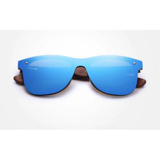 Мъжки слънчеви очила с дървени рамки blue